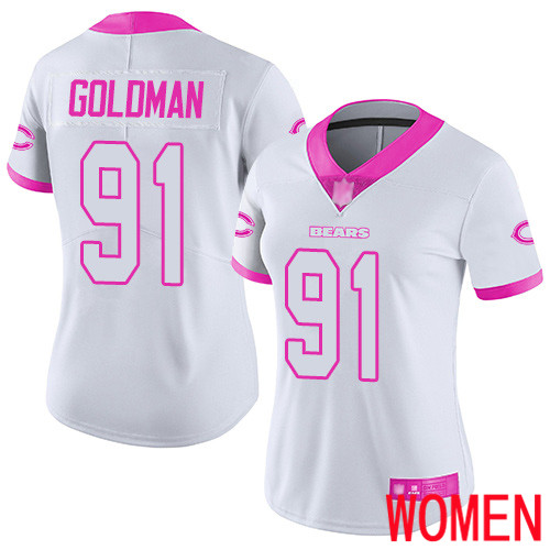 Chicago Bears Limited White Pink Women Eddie Goldman Jersey NFL Football 91 Rush Fashion