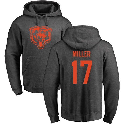 Chicago Bears Men Ash Anthony Miller One Color NFL Football 17 Pullover Hoodie Sweatshirts