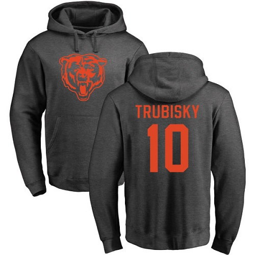 Chicago Bears Men Ash Mitchell Trubisky One Color NFL Football 10 Pullover Hoodie Sweatshirts