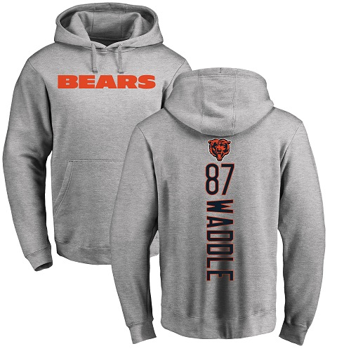Chicago Bears Men Ash Tom Waddle Backer NFL Football 87 Pullover Hoodie Sweatshirts