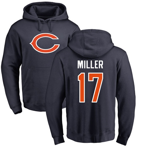 Chicago Bears Men Navy Blue Anthony Miller Name and Number Logo NFL Football 17 Pullover Hoodie Sweatshirts