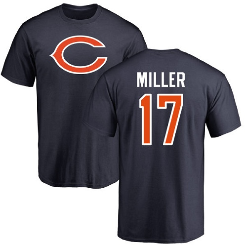 Chicago Bears Men Navy Blue Anthony Miller Name and Number Logo NFL Football 17 T Shirt