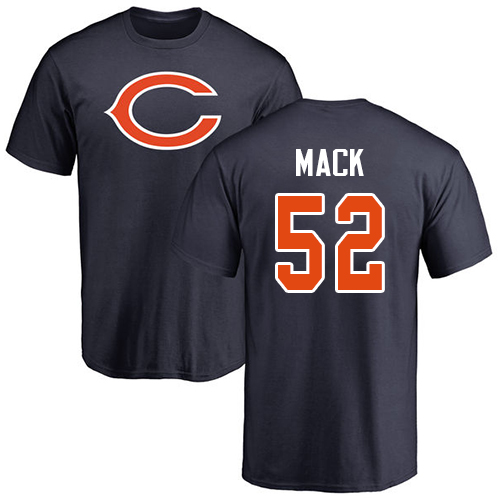Chicago Bears Men Navy Blue Khalil Mack Name and Number Logo NFL Football 52 T Shirt