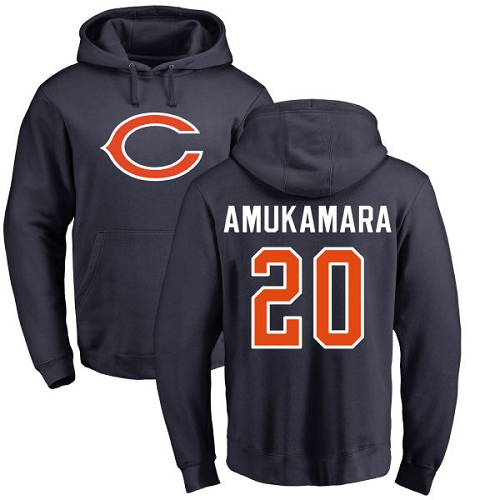 Chicago Bears Men Navy Blue Prince Amukamara Name and Number Logo NFL Football 20 Pullover Hoodie Sweatshirts