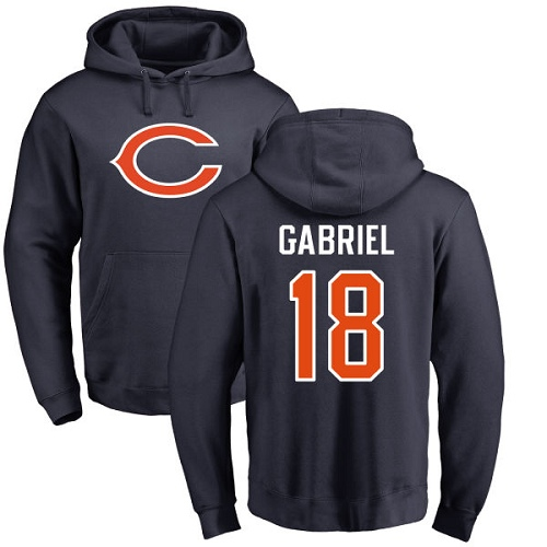 Chicago Bears Men Navy Blue Taylor Gabriel Name and Number Logo NFL Football 18 Pullover Hoodie Sweatshirts