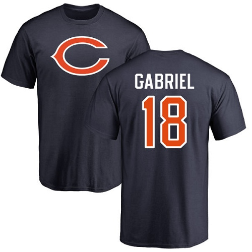Chicago Bears Men Navy Blue Taylor Gabriel Name and Number Logo NFL Football 18 T Shirt
