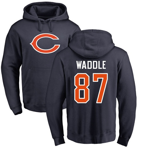 Chicago Bears Men Navy Blue Tom Waddle Name and Number Logo NFL Football 87 Pullover Hoodie Sweatshirts
