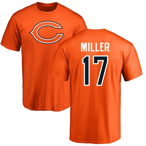 Chicago Bears Men Orange Anthony Miller Name and Number Logo NFL Football 17 T Shirt