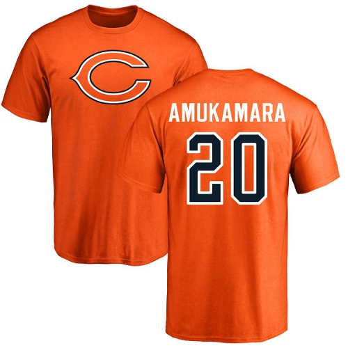 Chicago Bears Men Orange Prince Amukamara Name and Number Logo NFL Football 20 T Shirt