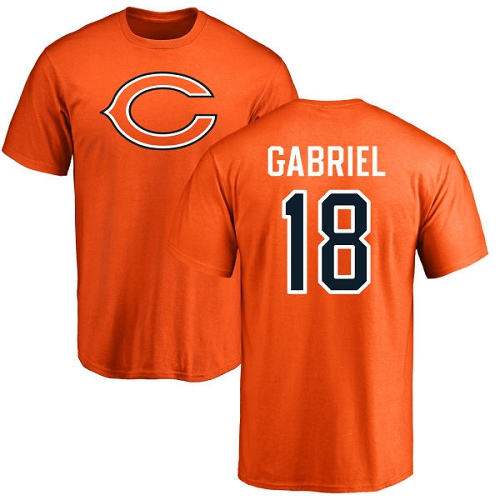 Chicago Bears Men Orange Taylor Gabriel Name and Number Logo NFL Football 18 T Shirt
