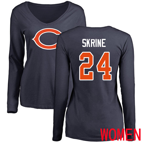 Chicago Bears Navy Blue Women Buster Skrine Name and Number Logo NFL Football 24 Long Sleeve T Shirt