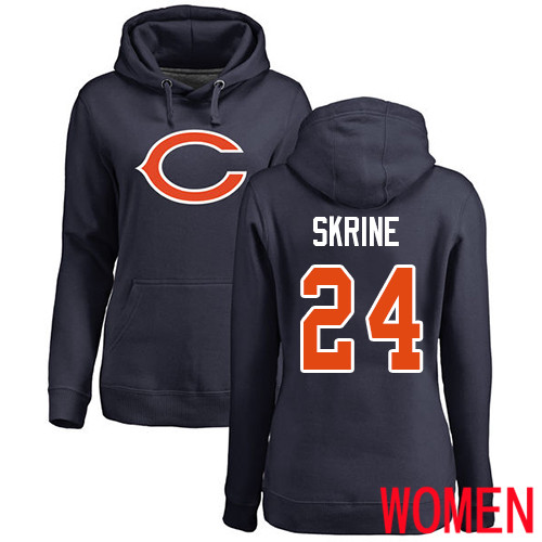 Chicago Bears Navy Blue Women Buster Skrine Name and Number Logo NFL Football 24 Pullover Hoodie Sweatshirts