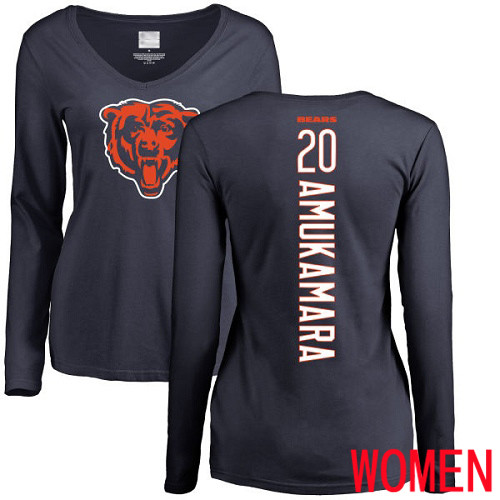 Chicago Bears Navy Blue Women Prince Amukamara Backer NFL Football 20 Long Sleeve T Shirt
