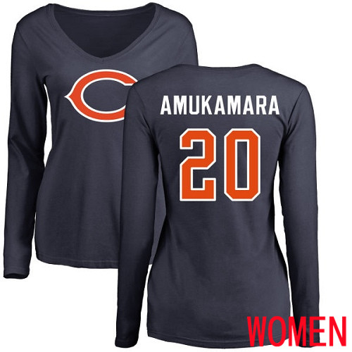 Chicago Bears Navy Blue Women Prince Amukamara Name and Number Logo NFL Football 20 Long Sleeve T Shirt