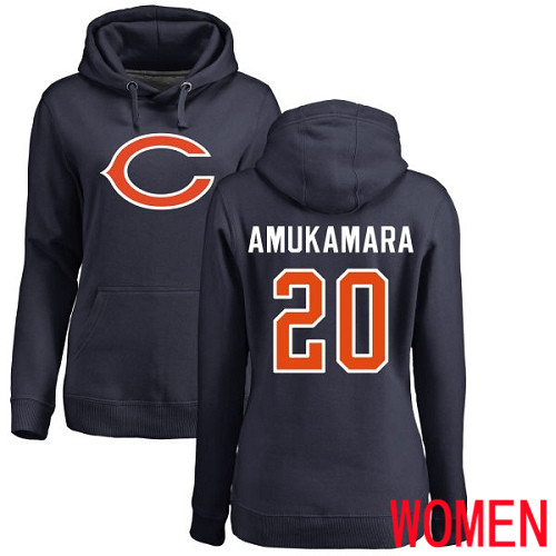 Chicago Bears Navy Blue Women Prince Amukamara Name and Number Logo NFL Football 20 Pullover Hoodie Sweatshirts