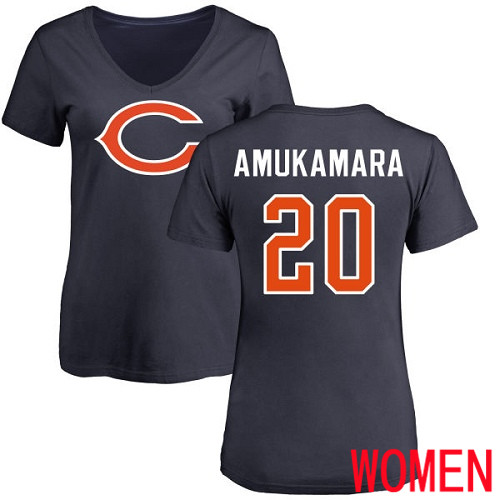 Chicago Bears Navy Blue Women Prince Amukamara Name and Number Logo NFL Football 20 T Shirt