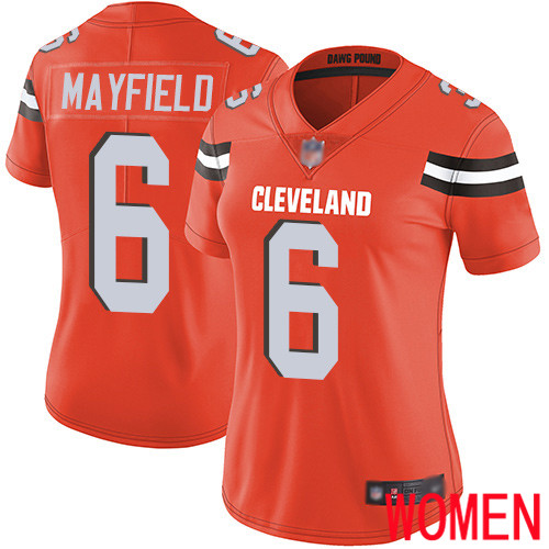 Cleveland Browns Baker Mayfield Women Orange Limited Jersey 6 NFL Football Alternate Vapor Untouchable