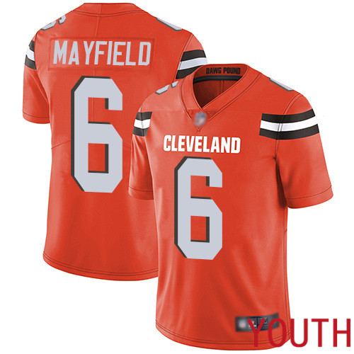 Cleveland Browns Baker Mayfield Youth Orange Limited Jersey 6 NFL Football Alternate Vapor Untouchable