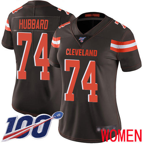 Cleveland Browns Chris Hubbard Women Brown Limited Jersey 74 NFL Football Home 100th Season Vapor Untouchable