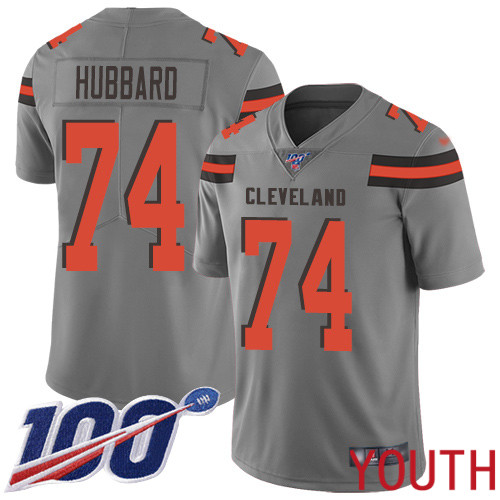 Cleveland Browns Chris Hubbard Youth Gray Limited Jersey 74 NFL Football 100th Season Inverted Legend