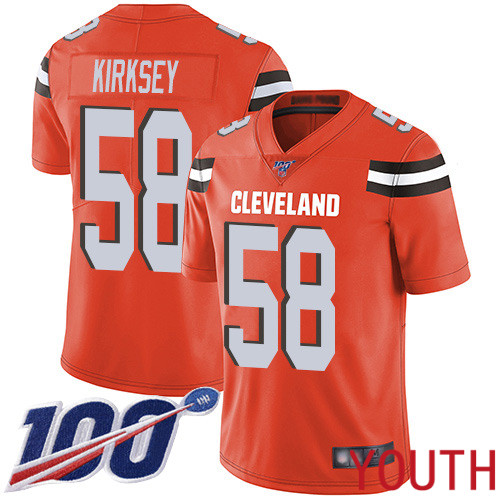 Cleveland Browns Christian Kirksey Youth Orange Limited Jersey 58 NFL Football Alternate 100th Season Vapor Untouchable