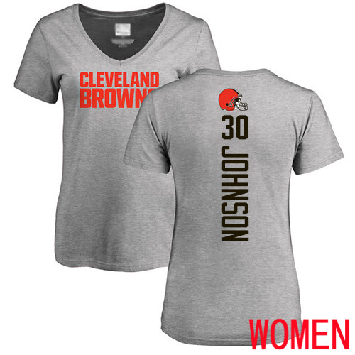 Cleveland Browns D Ernest Johnson Women Ash Jersey 30 NFL Football Backer V-Neck T Shirt