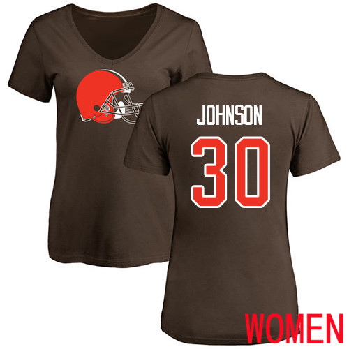 Cleveland Browns D Ernest Johnson Women Brown Jersey 30 NFL Football Name and Number Logo T Shirt