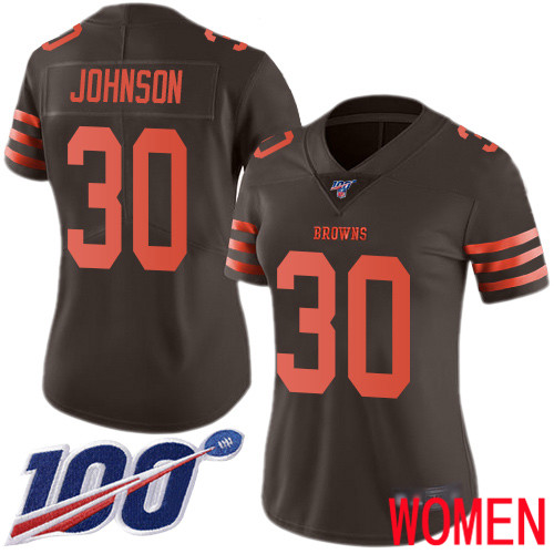 Cleveland Browns D Ernest Johnson Women Brown Limited Jersey 30 NFL Football 100th Season Rush Vapor Untouchable