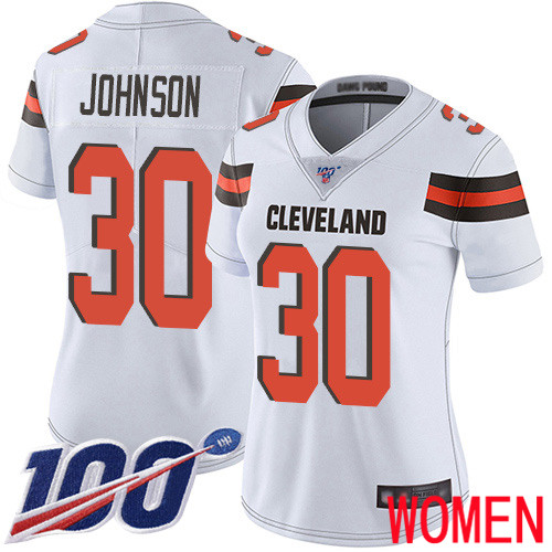 Cleveland Browns D Ernest Johnson Women White Limited Jersey 30 NFL Football Road 100th Season Vapor Untouchable