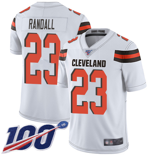 Cleveland Browns Damarious Randall Men White Limited Jersey 23 NFL Football Road 100th Season Vapor Untouchable