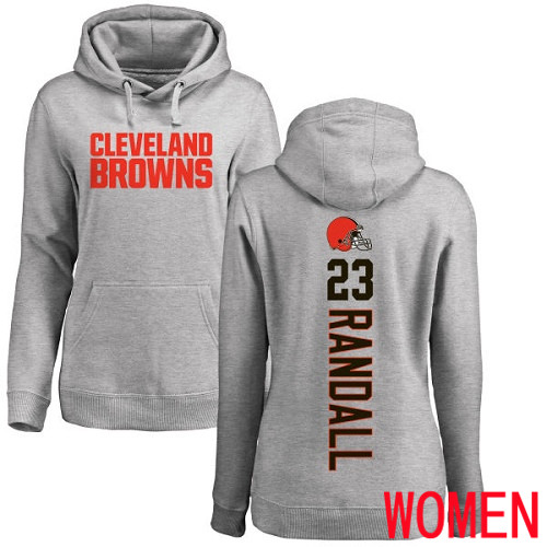 Cleveland Browns Damarious Randall Women Ash Jersey 23 NFL Football Backer Pullover Hoodie Sweatshirt