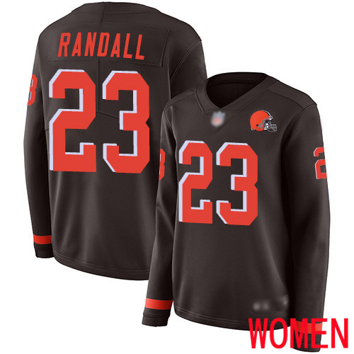 Cleveland Browns Damarious Randall Women Brown Limited Jersey 23 NFL Football Therma Long Sleeve