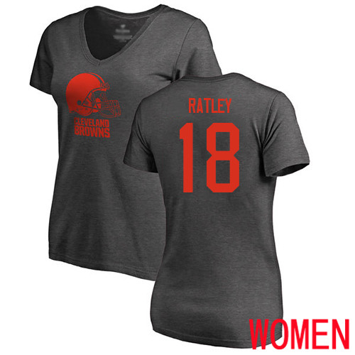 Cleveland Browns Damion Ratley Women Ash Jersey 18 NFL Football One Color T Shirt