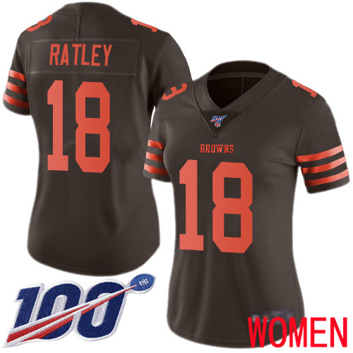 Cleveland Browns Damion Ratley Women Brown Limited Jersey 18 NFL Football 100th Season Rush Vapor Untouchable