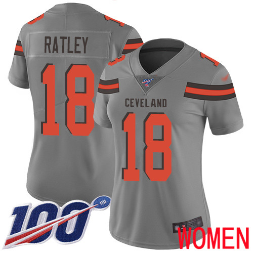 Cleveland Browns Damion Ratley Women Gray Limited Jersey 18 NFL Football 100th Season Inverted Legend