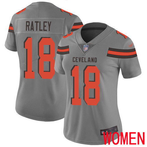 Cleveland Browns Damion Ratley Women Gray Limited Jersey 18 NFL Football Inverted Legend