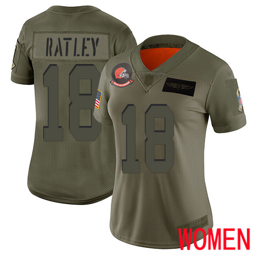 Cleveland Browns Damion Ratley Women Olive Limited Jersey 18 NFL Football 2019 Salute To Service