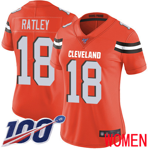Cleveland Browns Damion Ratley Women Orange Limited Jersey 18 NFL Football Alternate 100th Season Vapor Untouchable