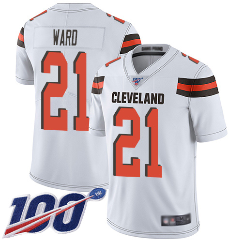 Cleveland Browns Denzel Ward Men White Limited Jersey 21 NFL Football Road 100th Season Vapor Untouchable