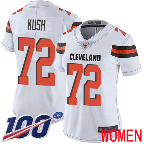 Cleveland Browns Eric Kush Women White Limited Jersey 72 NFL Football Road 100th Season Vapor Untouchable