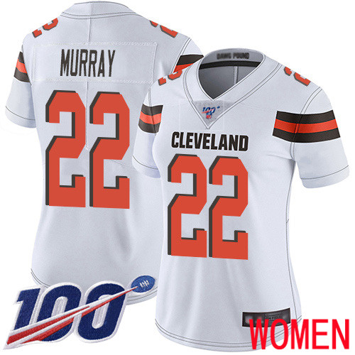Cleveland Browns Eric Murray Women White Limited Jersey 22 NFL Football Road 100th Season Vapor Untouchable