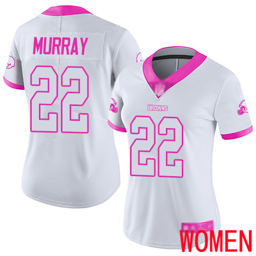 Cleveland Browns Eric Murray Women White Pink Limited Jersey 22 NFL Football Rush Fashion