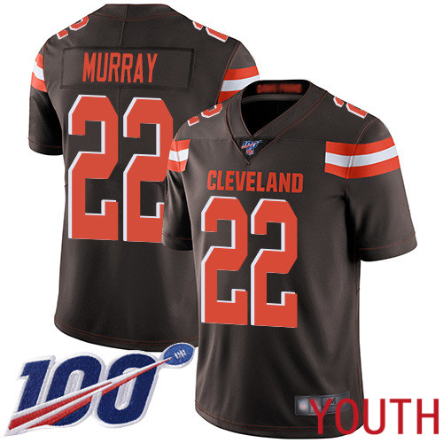 Cleveland Browns Eric Murray Youth Brown Limited Jersey 22 NFL Football Home 100th Season Vapor Untouchable
