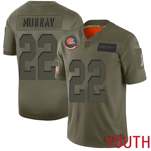Cleveland Browns Eric Murray Youth Olive Limited Jersey 22 NFL Football 2019 Salute To Service