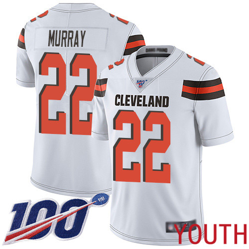 Cleveland Browns Eric Murray Youth White Limited Jersey 22 NFL Football Road 100th Season Vapor Untouchable