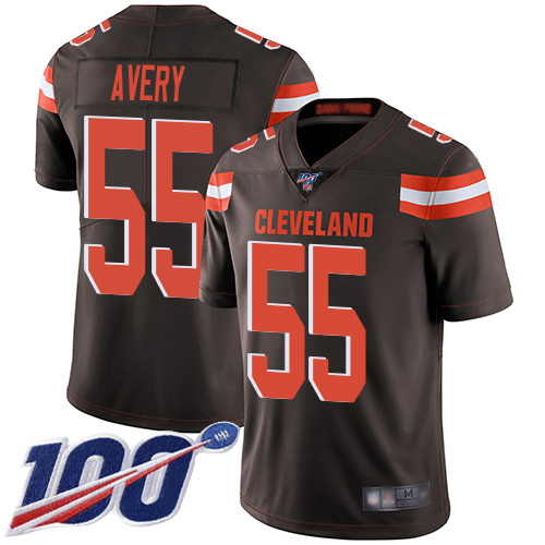 Cleveland Browns Genard Avery Men Brown Limited Jersey 55 NFL Football Home 100th Season Vapor Untouchable