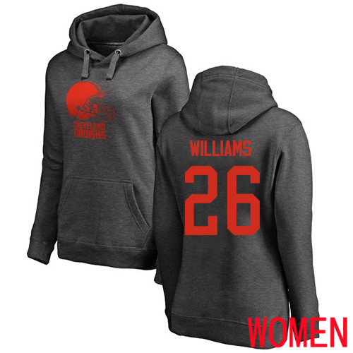 Cleveland Browns Greedy Williams Women Ash Jersey 26 NFL Football One Color Pullover Hoodie Sweatshirt