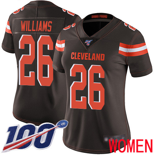 Cleveland Browns Greedy Williams Women Brown Limited Jersey 26 NFL Football Home 100th Season Vapor Untouchable