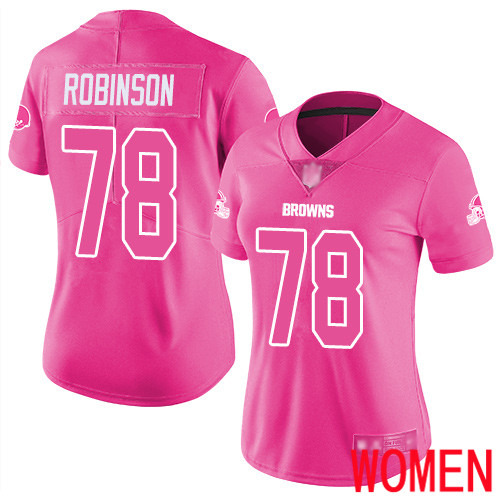 Cleveland Browns Greg Robinson Women Pink Limited Jersey 78 NFL Football Rush Fashion