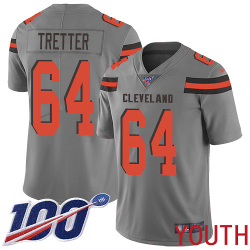 Cleveland Browns JC Tretter Youth Gray Limited Jersey 64 NFL Football 100th Season Inverted Legend